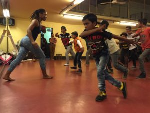 Ansley Jones teaching a Capoeira workshop at Bouyant Performing Arts with Celebrate the Connections Program, Kolkata