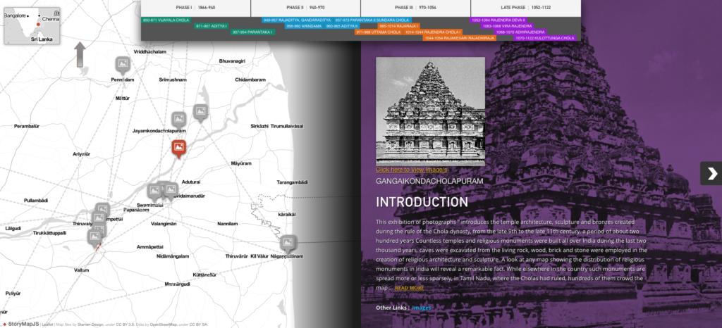 Screenshot of Chola temple map exhibit