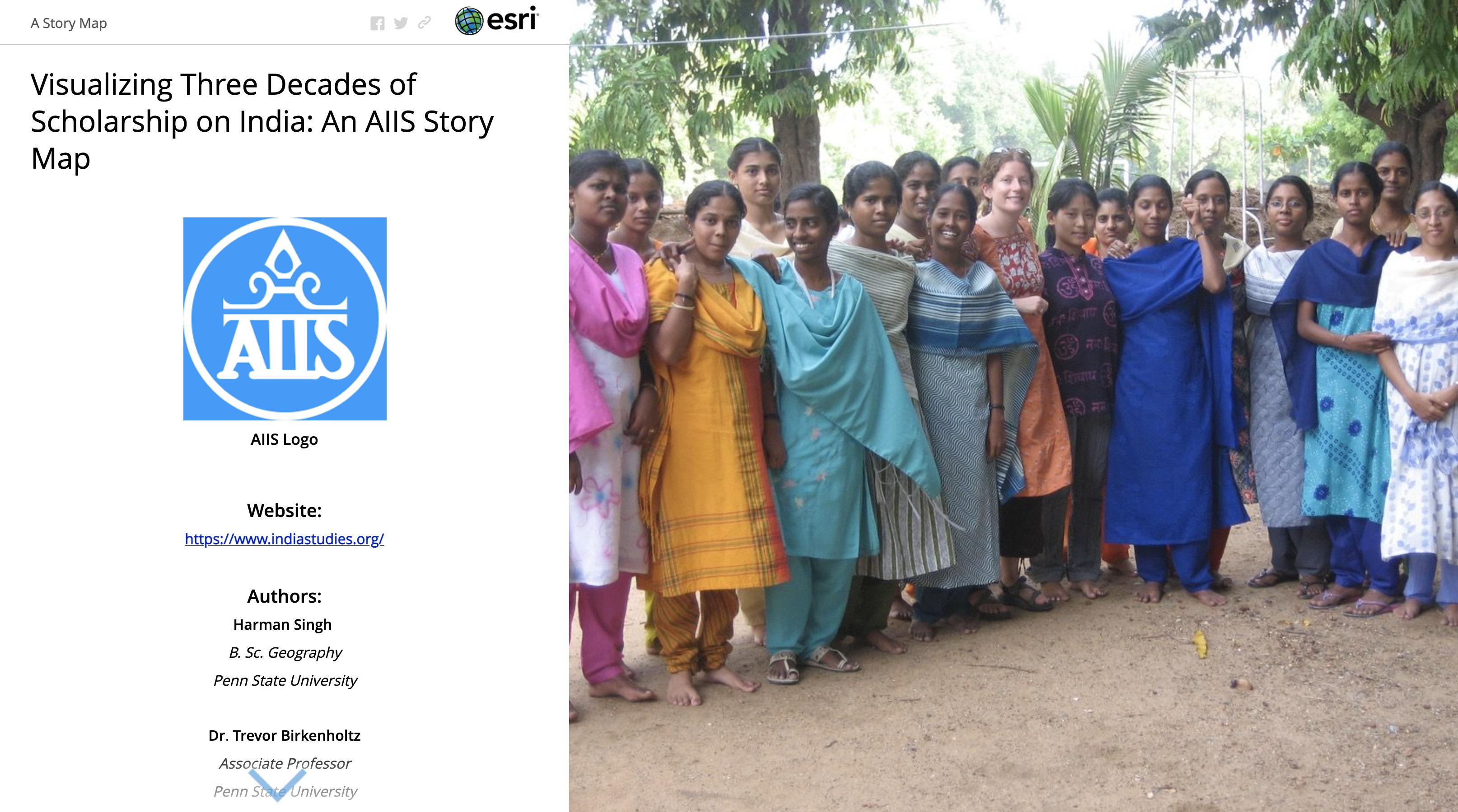 Screenshot of landing page of AIIS ESRI story map